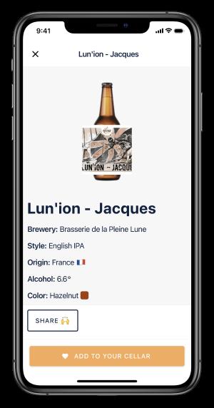 Screenshot de l'application Biernard mettant en avant l'écran Bière